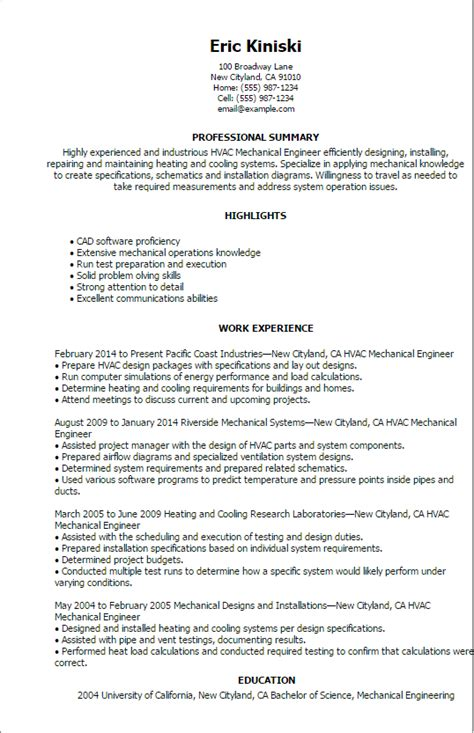 Hvac Mechanical Design Engineer Resume professional hvac mechanical engineer templates to