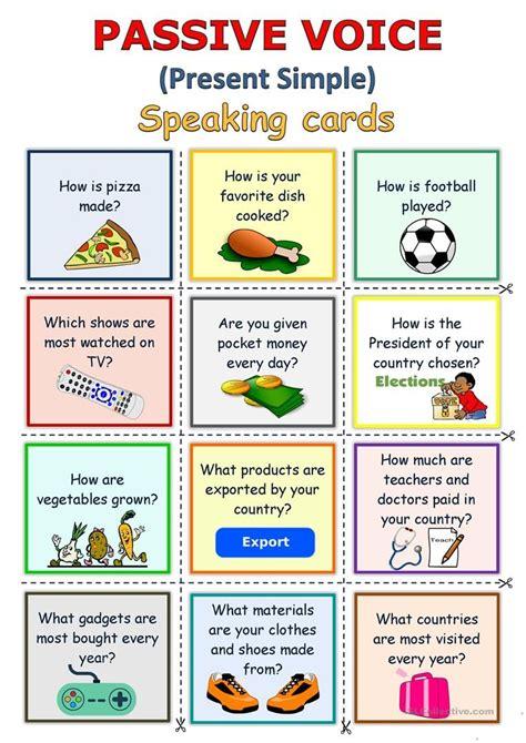 passive voice present simple speaking cards worksheet