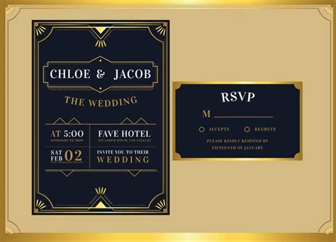 Black Gold Art Deco Wedding Invitation Template Vector