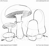 Mushrooms Cartoon Clipart Coloring Outlined Vector Picsburg Clipartof Royalty Protected Law Copyright sketch template