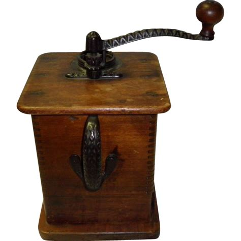 Antique Wooden Coffee Grinder Circa 1900 From Cameo