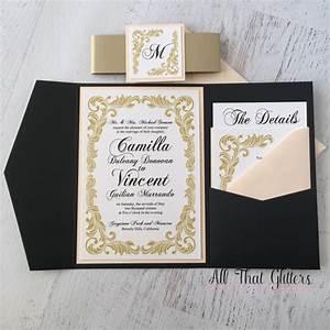 gold vintage wedding invitation suite pocketfolder wedding With order of wedding invitation suite