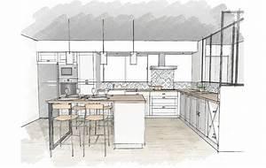 cuisines et nos vues 3d deco cuisine With plan de cuisine avec ilot central