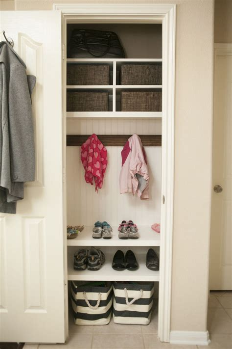 hometalk organizing coat closetmini mudroom