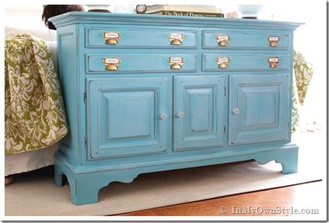 before and after furniture makeover in turquoise in my