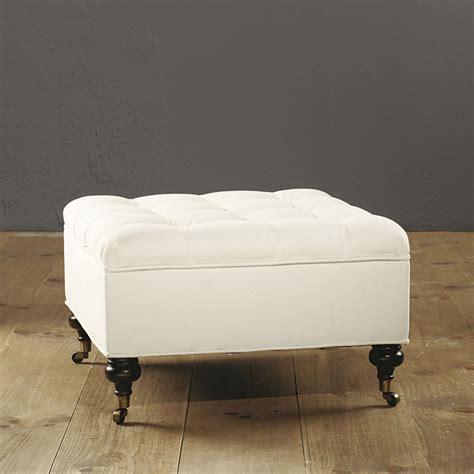 square ottoman with casters square tufted storage ottoman ballard designs