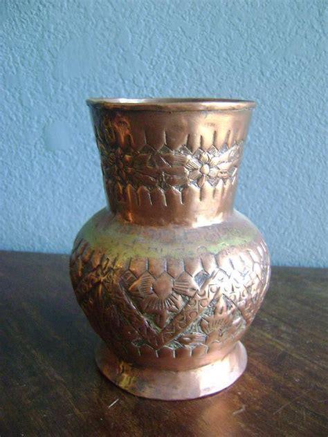 copper vase antique arts crafts repousse vintage copper vase urn vase 2588