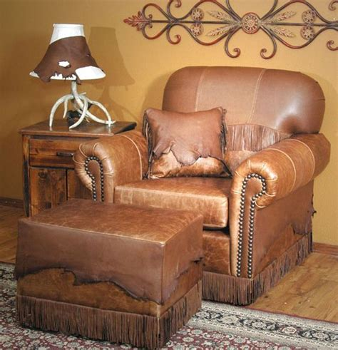 butte leather chair and ottoman western decor cabin