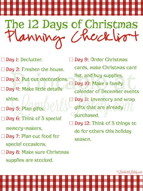 The 12 Days Of Christmas Planning  Lamberts Lately