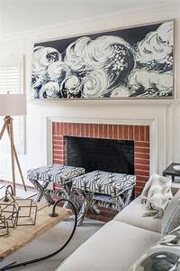 Brick, Fireplace, And, Black, And, White, Wave, Mantel, Artwork, In, Contemporary, White, Living, Room, With