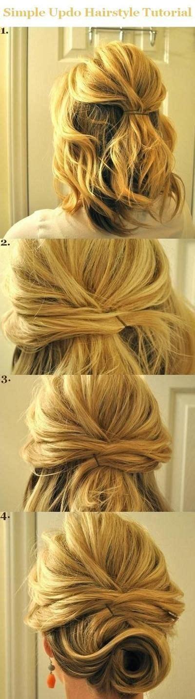 updo hairstyles tutorials for medium hair simple half