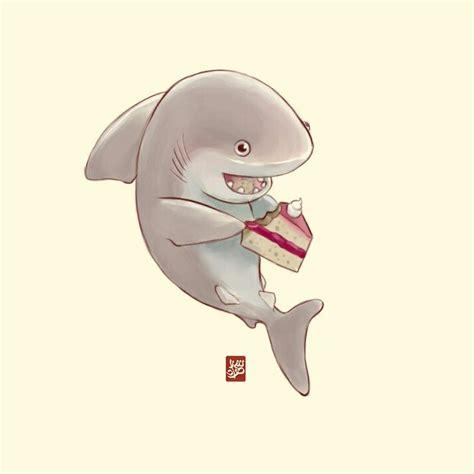 shark eating cake    happen cute