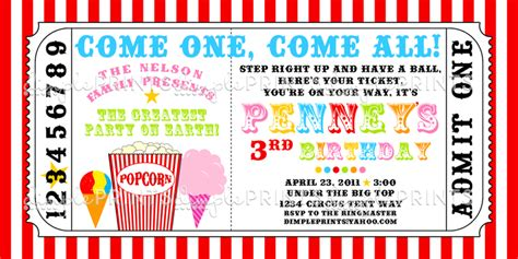 carnival invitation template carnival ticket printable invite dimple prints shop