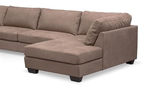 chaises taupe santana 4 sectional with right facing chaise taupe value city furniture