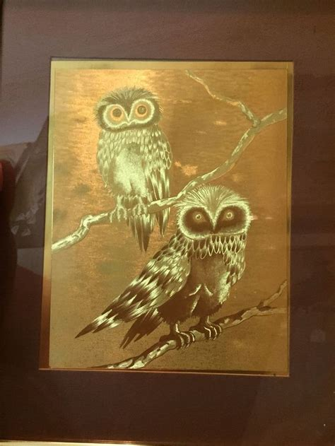 vintage gold foil etched owl picture   hardelin