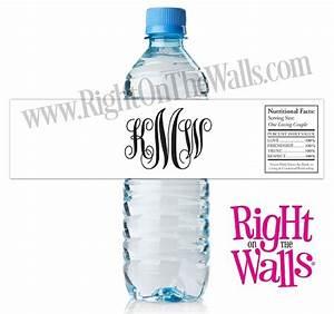 monogram water bottle labels wedding or bachelorette party With fancy bottle labels