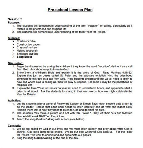 sample lesson plan outline sample preschool lesson plan 9 examples format