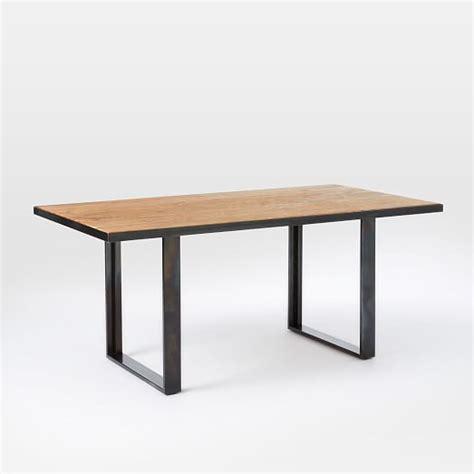 oak and steel dining table industrial oak steel dining table west elm
