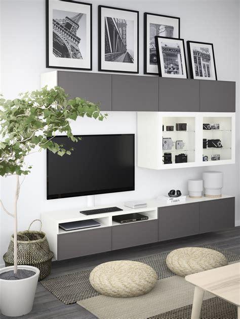 Hängeschrank Ikea Wohnzimmer by Best 197 Tv Komb Mit Vitrinent 252 Ren Grau Las Nussbaumnachb