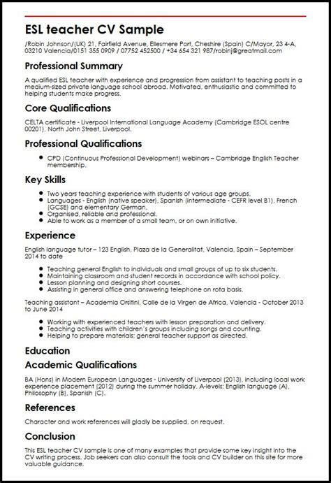 Esl Duties Resume by Esl Cv Sle Myperfectcv