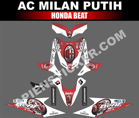 striping motor beat ac milan putih apien sticker
