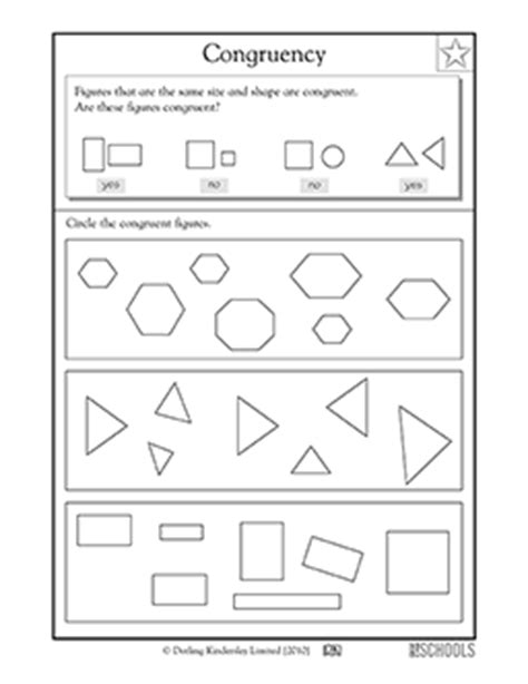3rd Grade Math Worksheets Congruent Shapes, 3rd Grade Greatschools