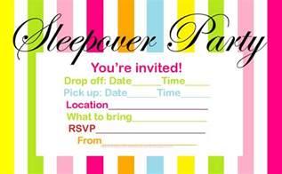 Sleep Over Party Invitations