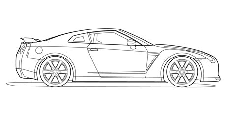 nissan skyline drawing outline view vector line drawing of a nissan gt r
