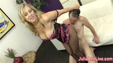 Milf Julia Ann Makes Slave Cum On Her Stockings From