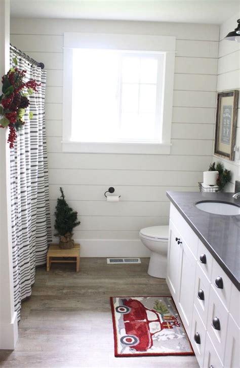 shiplap   bathroom wall  painted  alabaster sw