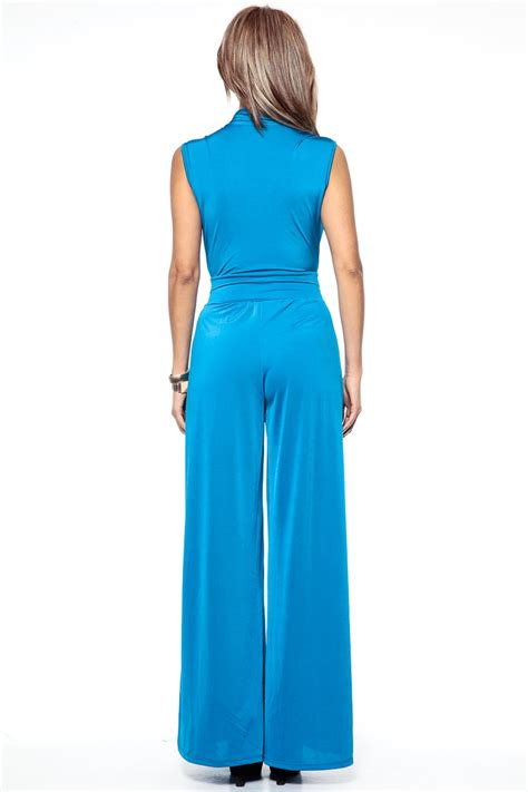 turquoise jumpsuit turquoise dreams overlapped jumpsuit cicihot top shirt