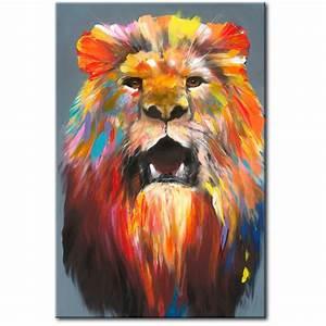 Gemalte Bilder Auf Leinwand : bild auf leinwand king of colours l we katzen tiere wandbilder kunst ~ Frokenaadalensverden.com Haus und Dekorationen