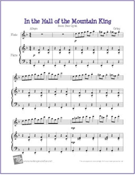 From grieg's version of peer gynt when peer gynt dances with the mountain kings. In the Hall of the Mountain King (Grieg) | Free Easy Flute Sheet Music