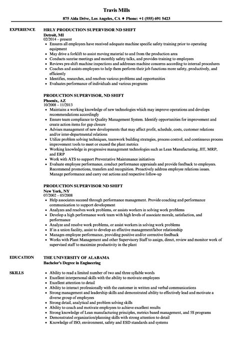 Production Supervisor Resume by Production Supervisor 2nd Shift Resume Sles Velvet