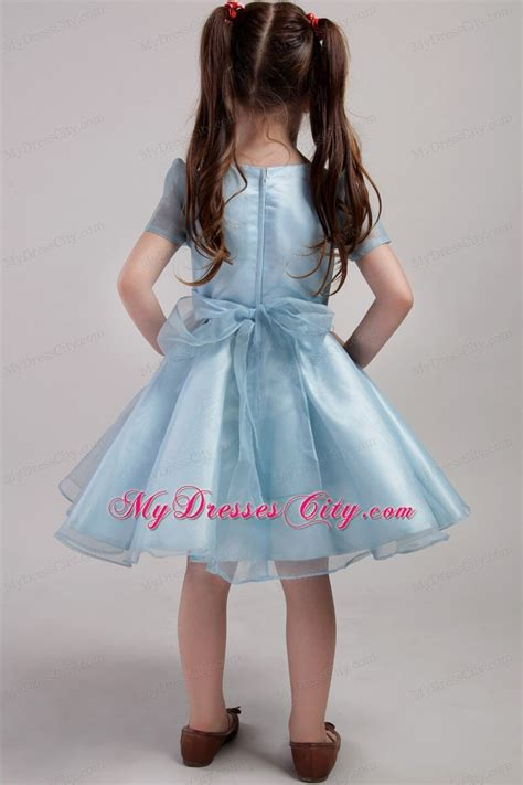 blue knee length  girl dress scoop short sleeves