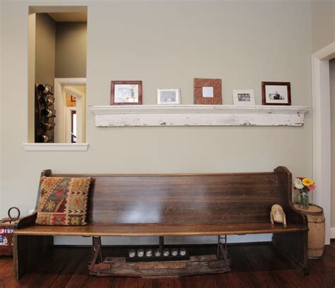 bench seating detail eclectic living room dallas