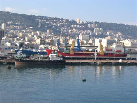 file port of haifa viewed from the sea jpg wikimedia commons