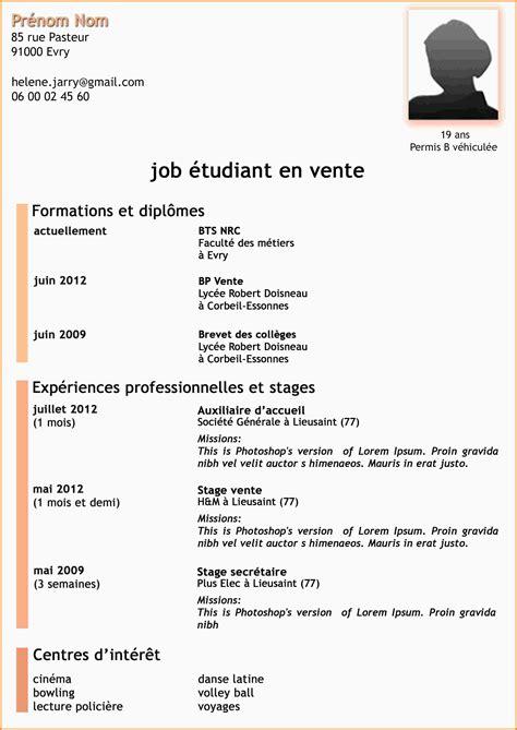 Exemple De Cv En Francais Pour Etudiant by Exemple De Cv Pour 233 Tudiant Cv Stage Psco
