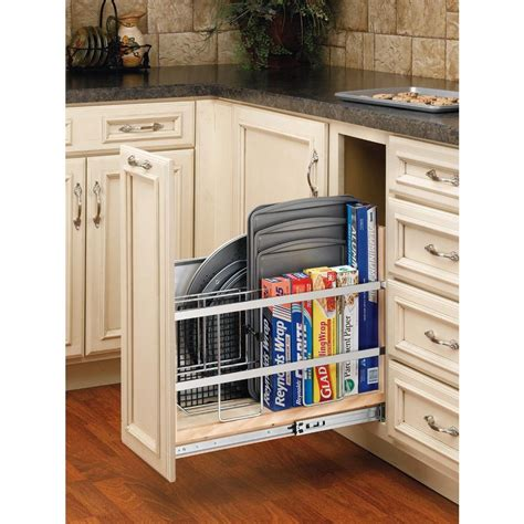 kitchen cabinet tray organizer rev a shelf 20 in h x 8 in w x 22 in d pull out wood