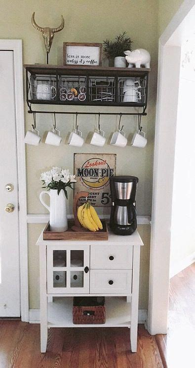 The home bar is becoming more and more popular in our society and home bars of all shapes and sizes are popping up across america. Coffee bar ideas for small home ideas #coffeebarideas #design #coffeebar #bar #storage #kitchen ...