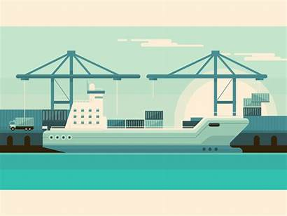 Ship Container Animated Animation Dribbble Corporate Cartoon