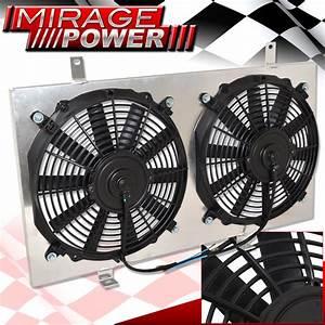 Aluminum Dual Fan Racing Radiator Slim Shroud For 00