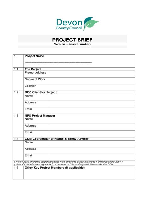 project  template fillable printable