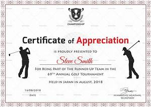 Golf Certificate Template Free Golf Appreciation Certificate Design Template In PSD Word