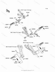 Kawasaki Motorcycle 2003 Oem Parts Diagram For Footrests