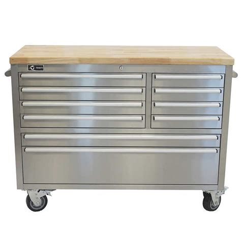 trinity  stainless steel rolling workbench  costco