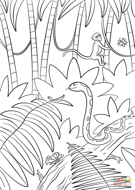 jungle scene coloring page  printable coloring pages
