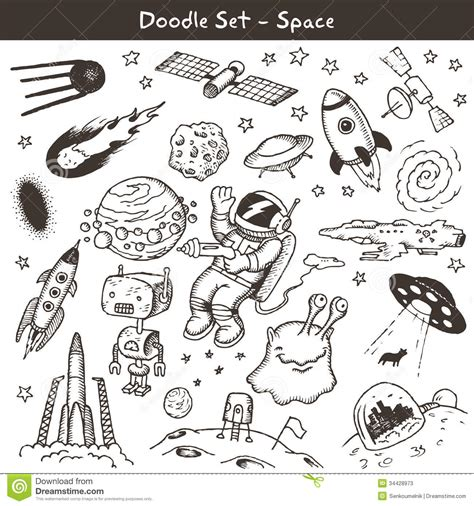 Space doodles stock vector. Image of pencil, star, shape ...