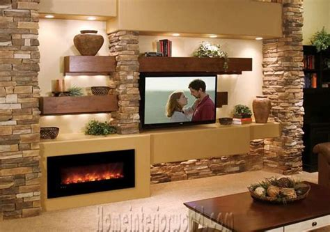 tv  fireplace   wall google search modern