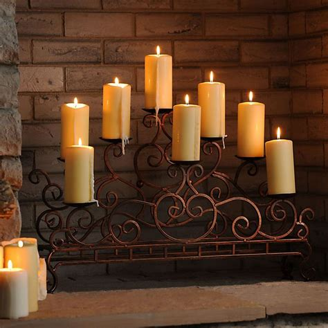 scrolled copper fireplace candelabra candles